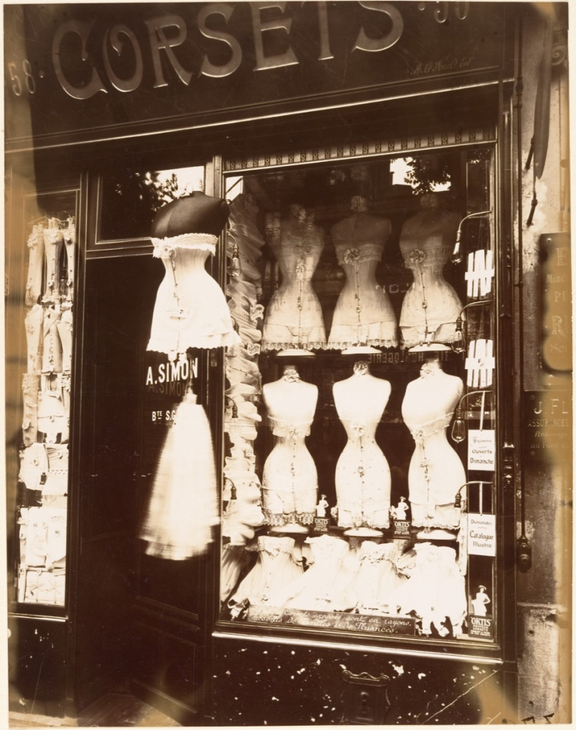 Eugène Atget (French, 1857–1927) Boulevard de Strasbourg, Corsets, Paris, 1912, Gelatin silver print from glass negative 22.4 x 17.5 cm (8 13/16 x 6 7/8 in.) The Metropolitan Museum of Art, New York