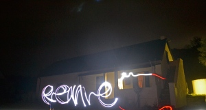 Light painting in the darkness of night.