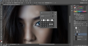 "Use the clone stamp tool to remove imperfections in the ""high"" layer…"