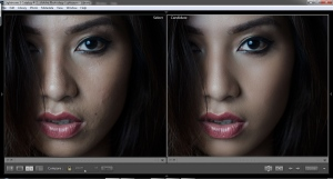 I used Lightroom for the before and after image. You can clearly see the difference…