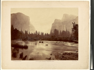 Eadweard J. Muybridge (American, born England, 1830 - 1904) Valley of the Yosemite, from Rocky Ford, 1872, Albumen silver print 42.9 x 54.5 cm (16 7/8 x 21 7/16 in.) The J. Paul Getty Museum, Los Angeles